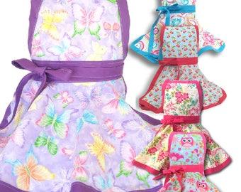 Glitter Butterfly Kids apron,  Many Prints girl's apron, child's apron,  personalized apron, kids apron