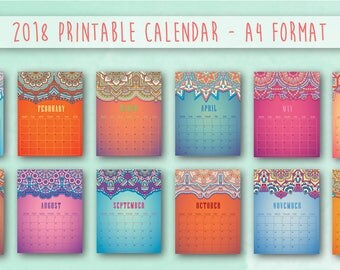 2018 PRINTABLE Calendar, Colorful Planner 2018 PDF, A4 US Letter, Wall Art, Instant Download, Bright, Organization, Planning, 12 months