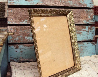 Vintage metal Picture Frame Ornate Mid Century Ormolu Filigree Metal Antique Gold Metal Photo Frame Wide Baroque Frame Brass Metal Lace 8x10
