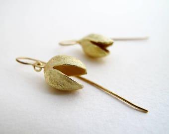 Gold Pistachio Earrings 18kt Gold Earrings Cast From Natural Pistachio Smile Earrings