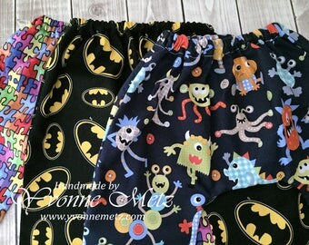 MADE to ORDER - Baby Pants, Karate Style pants, 0 - 3 month size, Super Hero, Monster, Puzzle Fabric, Autism Awareness