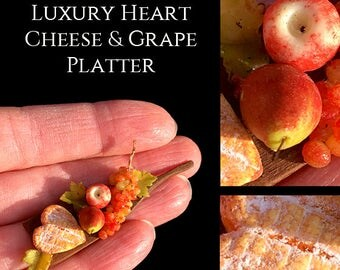 Luxury Artisan Cheese & Grape Platter - Artisan Handmade Miniature in 12th scale After Dark miniatures.