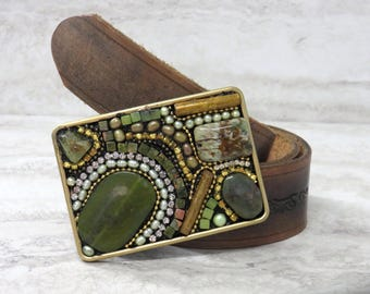 Belt Buckle in Olive Green- Handmade Gold & Military Green Buckle with Rhinestones by Sharona Nissan