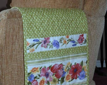 Quilted Armchair Caddy, Bedside Caddy, Lime Green, Flowers