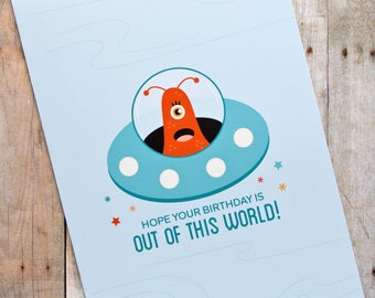 Out of This World Birthday Alien Flying Saucer Card