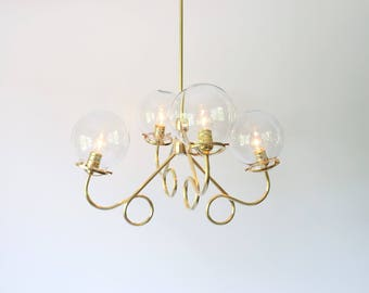 Brass Globe Chandelier, 4 Fluted Arms, Clear Glass Globe Shades, Modern Hanging Lighting Pendant Fixture