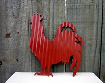 Rooster Wall Art, Painted Metal, Cranberry Red, Chicken, Hen, Farmhouse Decor, Kitchen Wall Art, Corrugated Tin, Rustic, Country Decor, Farm