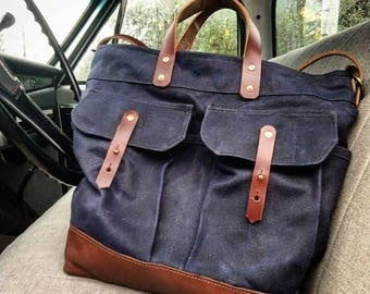 The Alinta - Waxed Canvas Tote Bag - Converts to Back Pack