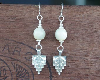 Antique Assemblage Earrings with Art Deco Glass Drops and Huge Antique French Mother of Pearl Beads