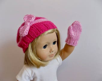 18 Inch Doll Hat and Mitten Set, Doll Gloves, Doll Slouch Hat, Pink Doll Beret, Doll Beanie with Bow, Pink Doll Mittens, Accessories, Toys