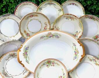 13 Piece Vintage Mismatched Fine China Bowl Set includes Large Oval Serving Bowl + 12 Berry/Fruit/Dessert Bowls