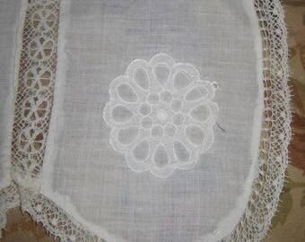 Antique White Cotton Hostess Apron