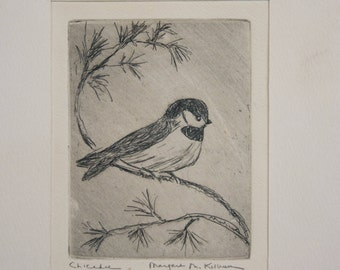 1930S Chickadee Etching by  Listed Artist Margaret Kilburn