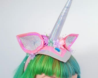 Unicorn Headband. Festival unicorn headdress. Pink Floral unicorn Cosplay Headband. Floral unicorn headdress.