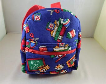 Mini backpack Child School Pretend Play Back Pack Blue School Print Ready to ship Accessories Pencil Bag Set