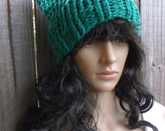 Hand Knitted Cat Hat, Cat Beanie, Cat Ear Hat, Chunky Cat Hat, Winter Cat Hat, in Green with a touch of White on the Tips