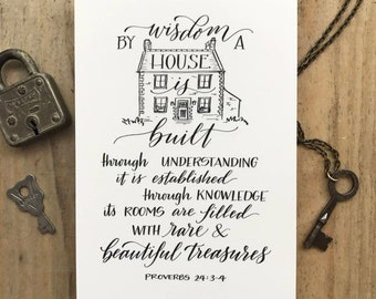 Proverbs 24:3-4 - Scripture Print - Bella Scriptura Collection from Paperglaze Calligraphy