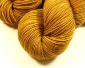 Hand Dyed Sock Yarn - Sock Weight Superwash Merino Wool Yarn - Honey Mustard - Yellow Gold Tonal Fingering Yarn, Indie Dyed Knitting Yarn