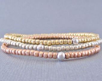 Rose Gold Bracelets/ Gold Bracelets/ Silver Bracelets/ Layering Bracelets/ Seed Bead Bracelets/ Friendship Bracelets/ Stretch Bracelet Set