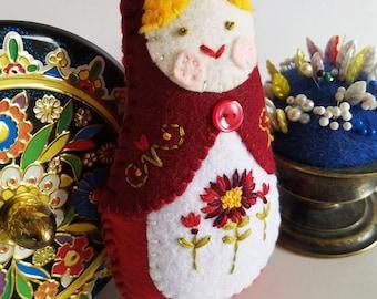 Handmade Felt Matryoshka Doll - Embroidered Deep Red Burgundy - Yellow Hair - Olive Green Eyes - Heirloom Style - Russian Baby Doll - OOAK