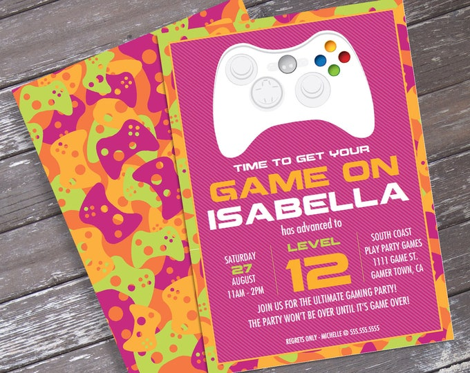 Girl Video Game Birthday Party Invitation - Pink Camo - You Personalize EDITABLE Text At Home - INSTANT Download D.I.Y. Printable PDF Kit
