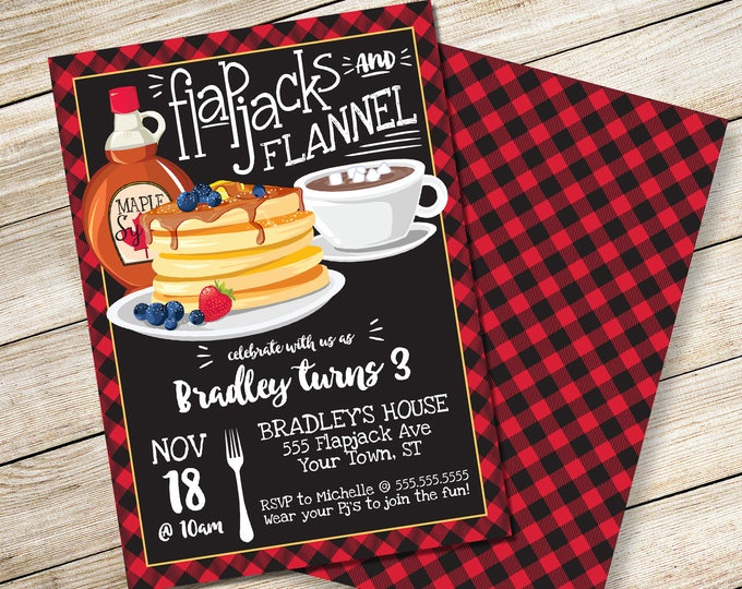 Flapjack & Flannel Invitation - Lumberjack Party, Lumberjack Flapjack Party, Flapjack Party | DIY Editable Text INSTANT DOWNLOAD Printable