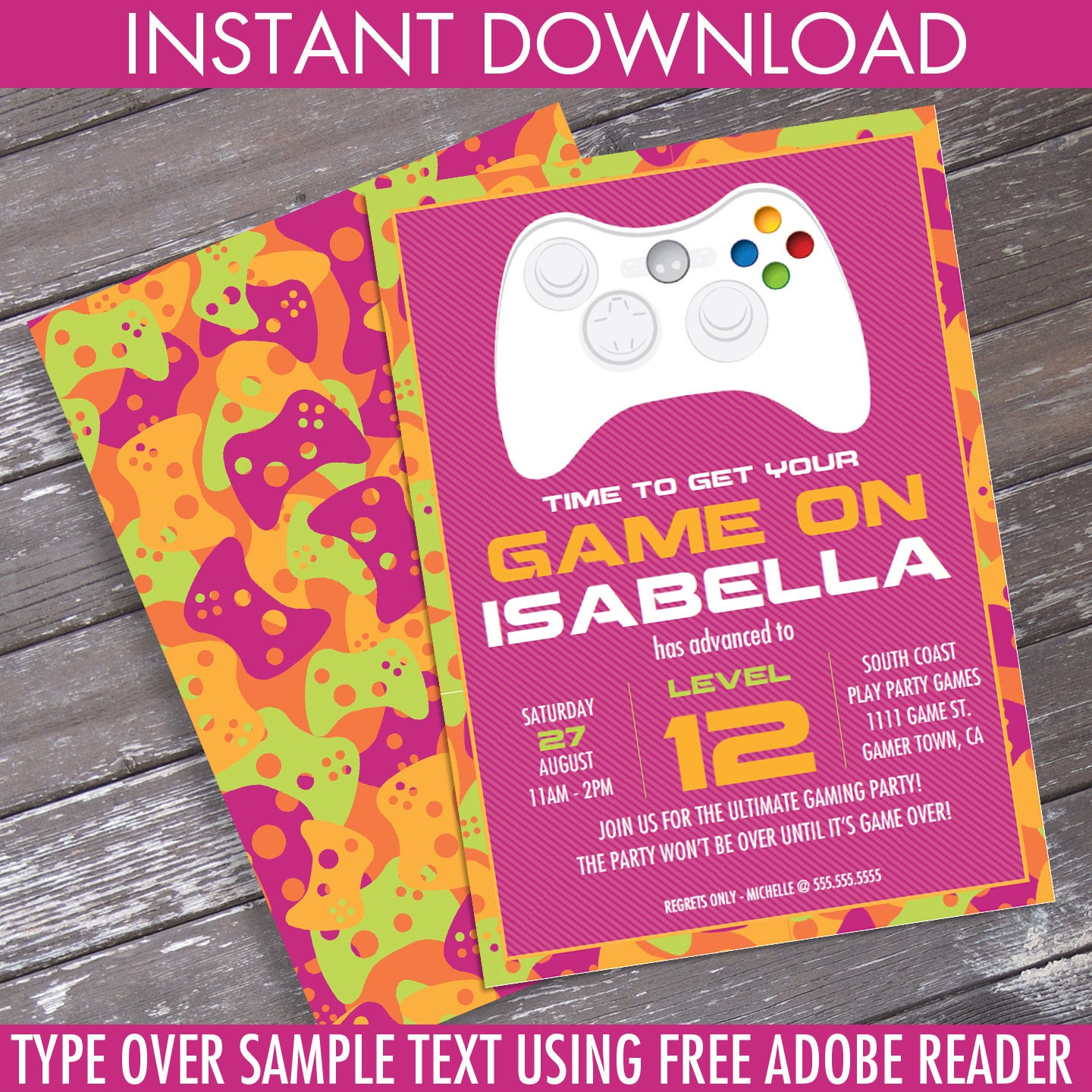 Girl Video Game Birthday Party Invitation - Pink Camo - You ...