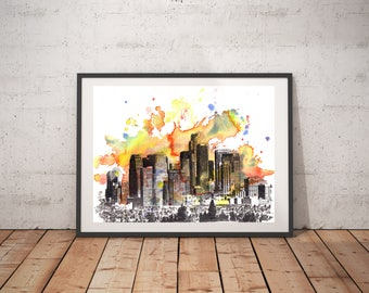 Los Angeles Skyline Art Print Poster From Original Watercolor Painting 18x24 Los Angeles Large Wall Art Print Los Angeles Art Painting