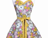 Sweetheart Retro Apron - Womens Fall Floral Cute Flirty Kitchen Apron with Personalized Monogram Option (DP)