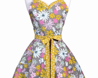 Sweetheart Pinup Womans Apron - Gold Pink Taupe Floral Retro Vintage Inspired Flirty Ruffled Kitchen Apron with Pockets (DP)