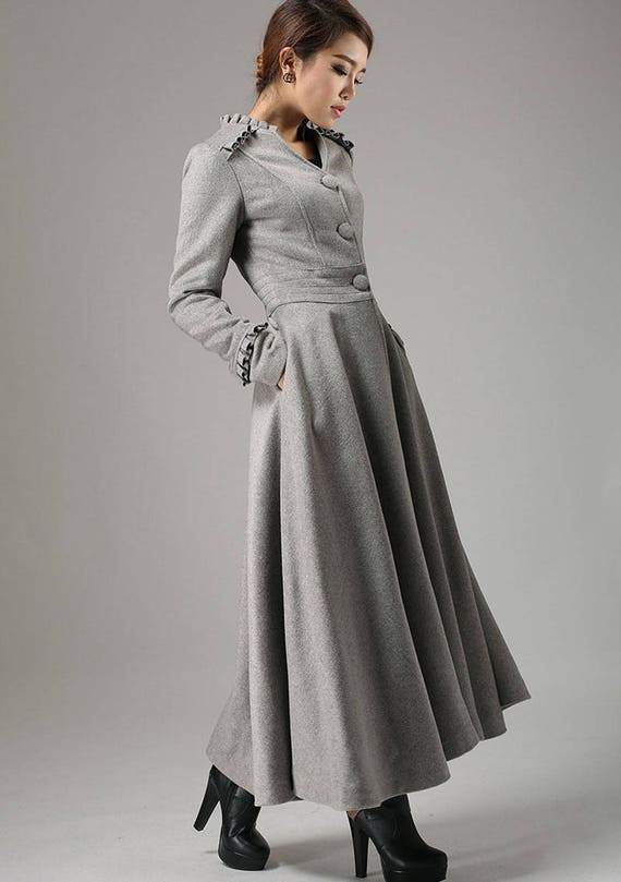 grey wool coat long trench coat button coat with ruffle