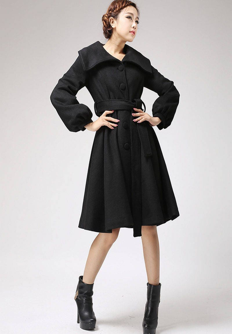 schwarzer mantel wollmantel mit schalkragen winter jacke. Black Bedroom Furniture Sets. Home Design Ideas