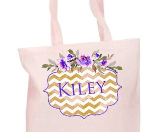 Bridesmaid Gift Bags, Personalized Bridesmaid, Bride Tribe Bag, Matching totebags, Canvas Bag, Wedding canvas bags, Watercolor Floral Style