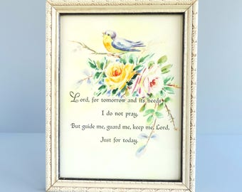 Vintage Framed Prayer Art Print with Bird and Rose Flowers Wall Hanging, 1940s Religious Motto Print Home Decor, Cottage Shabby Chic