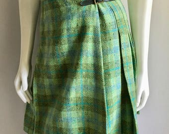 Vintage Women's 60's Wool, Pleated, Mini Skirt, Green, Turquoise (XS)