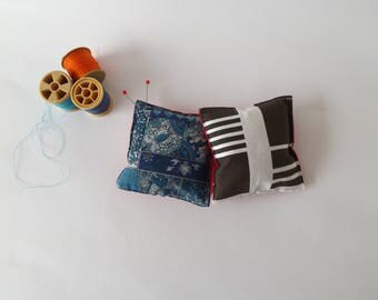 Recycled Fabric Swatch, Scrap and Offcut Pin Cushion with Eco Friendly Wadding, Vintage Blue or Stripes Prints