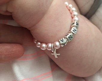 Pink Baby Bracelet // Baptism Bracelet // Pink Name Bracelet // Pink Pearl Bracelet // Little Girl Bracelet // Child Name Bracelet