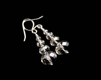 Crystal Silver Earrings, Swarovski Rondelles, Stacked, Dangle