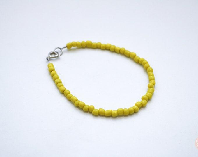 Yellow Skinny Beaded Bracelet.