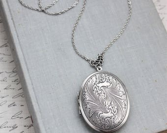 Silver Feather Locket Necklace