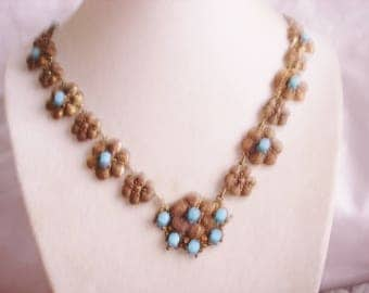 Flower Gold Tone   Necklace  Blue Stones