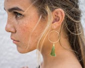 Olive Green Tassel Earrings with Circles, Mother's Day Gift, Hoop Earrings, Sterling Silver Country Wedding Earrings Large, Beach Wedding