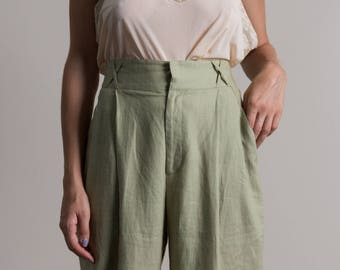 Vintage 90s Sage High Waisted Linen Trousers | 4/6