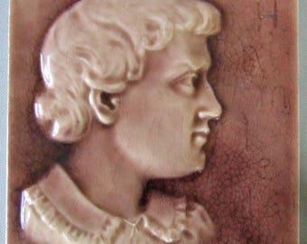 US Encaustic Portrait Tile Hamlet Rare Indianapolis Indiana Art Pottery