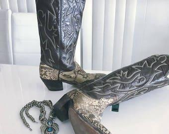 Vintage Snake Skin Cowboy Western Boots by Dan Post -- Size 8 Ladies