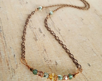 Beaded Bar Necklace - Copper and Turquoise Wire Wrapped Necklace - Unique Trendy Handmade - Statement - Fashion - Little Blue Bus Jewelry