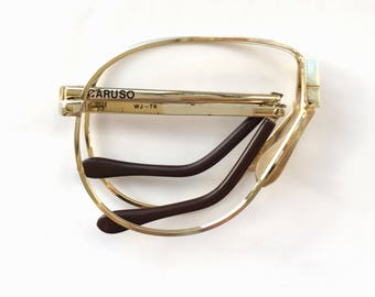 80s Vintage Gold Caruso Folding Foldable Aviator Eyeglasses