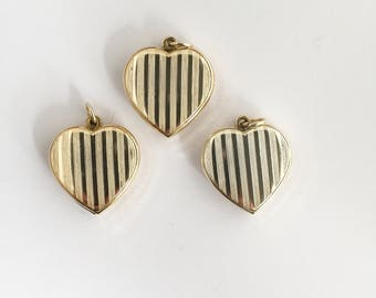 3 Vintage 70s 80s Sliding Lockets Hearts with Stripes Gold Color Pendants Findings Stampings NOS