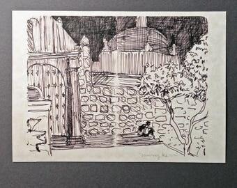 sketchbook print - Templo del Carmen Alto Oaxaca 5x7 digital print