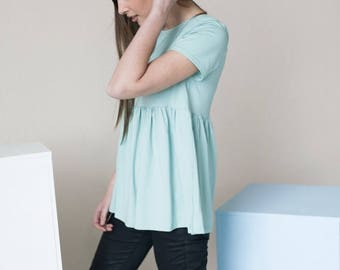 SALE - Summer blouse | Cotton blouse | Mint blouse | LeMuse summer blouse